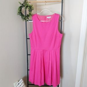 1. State | Pink Fit & Flare Pleated Cotton Dress